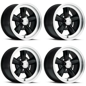 Set 4 15 Vision 141 Legend Black Machined Lip Classic Wheels 15x8 5x5 5 0mm