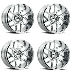 Set 4 20 Vision Sliver 360 Chrome Wheels 20x10 8x170 25mm Lifted Truck Rims