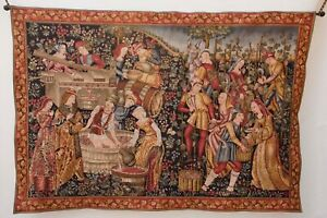 French Tapestry Point De L Halluin Signed T A L 56 X 82 Grape Harvest Scene