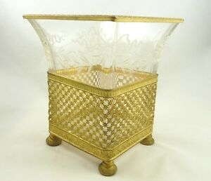 Antique French Vase Planter Gilt Ormolu Crystal Etched With Bows Swags