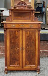 Antique 19th Cent American Victorian Renaissance Burl Walnut Tall Cabinet C1880