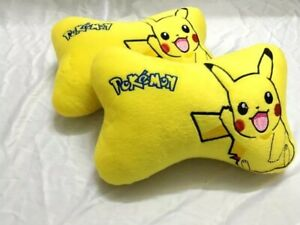 2pcs Car Pillows Truck Soft Pikachu Yellow Back Rest Cushion Cute Headrest Gift