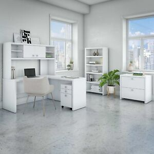 Office By Kathy Ireland Echo L Shaped Desk With Hutch Bookcase And File