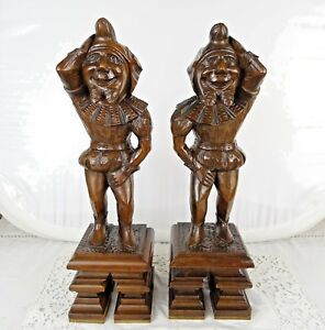 16 French Antique Pair Walnut Wood Figures Support Posts Pillars Architectural