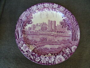 Rare Purple Transfer Plate Castles Early Enoch Woods Stokesay Transferware