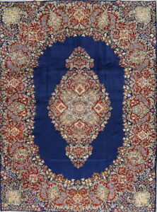 One Of Kind Floral Kirman Persian Hand Knotted Indigo Blue 9 X12 Area Wool Rug