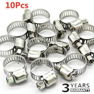 10pcs 3 8 5 8 Stainless Steel Drive Hose Clamp Fuel Line Worm Clip Adjustable