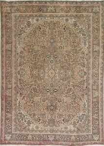 Vintage Geometric Persian Oriental Hand Knotted Wool 8x11 Beige Brown Area Rug