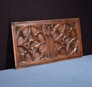 French Antique Gothic Revival Panel In Oak Wood Salvage 2