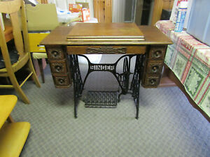 Fancy Antique 1900 Singer Treadle 6 Drawer Sewing Machine Oak