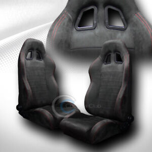 Universal Sp Sport Black Suede Red Stitch Racing Bucket Seats W Sliders Pair C01