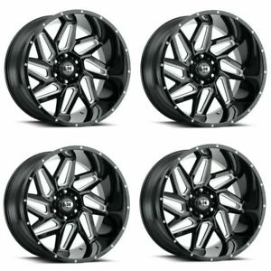 Set 4 20 Vision Spyder 361 Black Milled Spoke Wheels 20x9 5x150 12mm Truck Rims