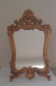 Antique Bronzed Cast Metal Ornate Dresser Vanity Mirror With Easel Stand