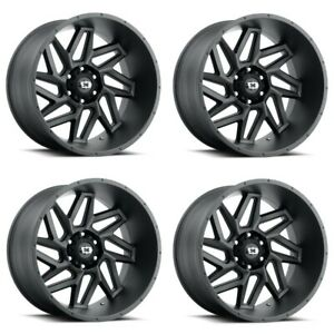 Set 4 20 Vision Spyder 361 Satin Black Wheels 20x9 5x5 5 12mm 5 Lug Truck Rims