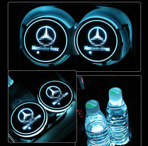 2pcs Led Colorful Atmosphere Light Car Cup Holder Pad Mat Auto For Mercedes Benz