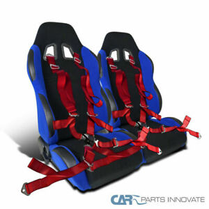 2x Jdm Black Blue Full Reclinable Racing Bucket Seats Camlock Seat Belts Red