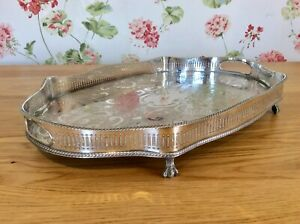 Superb 18 Chased Silver On Copper Footed Rise Fall Serpentine Gallery Tray