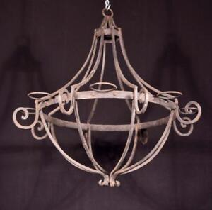 Vintage French Iron Chandelier Hanging Lamp
