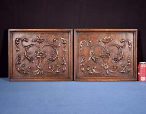 Pair Of Antique French Renaissance Carved Solid Oak Panels With Flowers