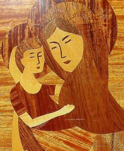 Vtg Marquetry Inlaid Wood Picture Mother Child Mary Jesus Madonna Christ Child
