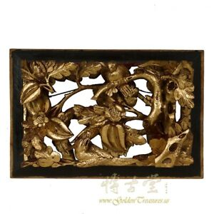 Chinese Antique 3d Wood Carving Gold Flake Panel