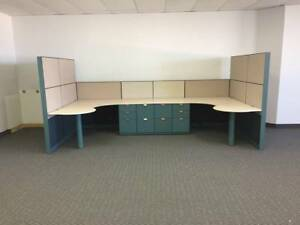 2 Person Office Desk Unit With Filing Cabinets Local Pickup Only