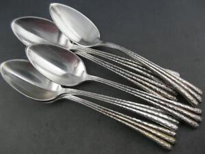 Rare 6 Sterling Shiebler Spoons Aesthetic Luxembourg Hammered Pattern C1880s