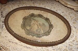 Antique Metallic Lace Trim Boudoir Tray Hanging Flapper Era Victorian Vintage