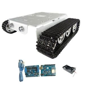 Silver Arduino wifi Control Tracked Tank Chassis With Led Light