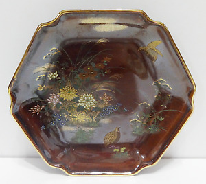 Vintage Japanese Hand Painted Pheasant Blossom Floral Decorative Plate Tray Dish