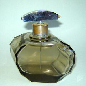 Antique Old Crystal Smoked Glass Perfume Bottle Atomizer