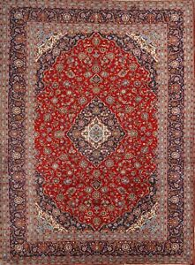 Excellent Floral Vintage Persian Oriental Hand Knotted Wool 10x13 Large Red Rug