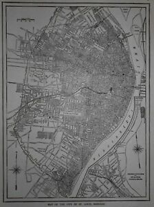 Great Antique World War Wwi Era 1914 City Old Map St Louis Mo Missouri L K