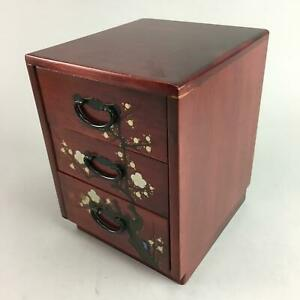 Japanese Lacquer Sewing Box Vtg Wooden Haribako Chest Tansu 3 Drawers T151