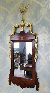 Antique American Late Federal Mahogany Gilt Hanging Looking Glass Mirror C1810