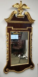 Antique Late 19th Century Federal Style Gold Leaf Mahogany Eagle Wall Mirror