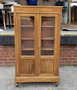 Antique French Regency Brass Inlaid Mahogany 2 Door Cabinet C1900