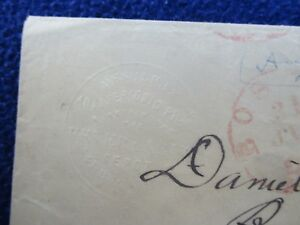 1855 Awesome Embossed Quack Remedies Medical Logo Cover Paid Mark Over Stamp