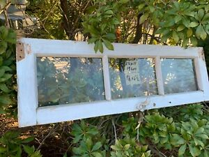 Vintage Basement Window Sash 1 Old 3 Pane 34 X 11 From 1940s Arts