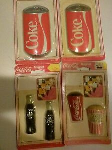 4 Packs Coca Cola Magnets-- Cups  Cans & Bottles (Unopened)