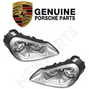 For Porsche Cayenne 08 10 Pair Set Of Left And Right Halogen Headlights Genuine