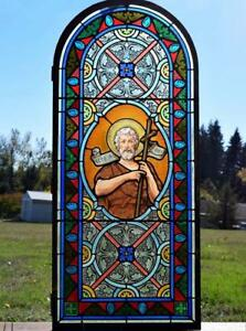 Antique French Stained Glass Panel W Leaded Glass John The Baptist Religious