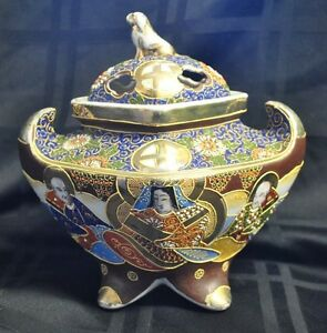 Satsuma Decorated Moriage Asian Incense Burner Porcelain Footed With Lid