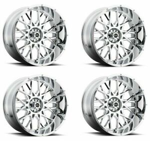 Set 4 20 Vision 412 Rocker Chrome Wheels 20x12 8x180 51mm Lifted Truck Rims