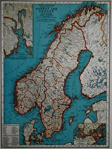 Vintage 1941 Atlas Map World War Wwii Norway Sweden Central Europe Inset Oslo