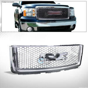 Fits 07 13 Gmc Sierra 1500 Chrome Round Hole Mesh Front Hood Bumper Grill Grille