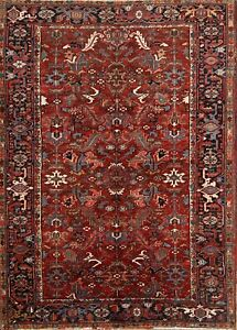 Antique Hand Knotted All Over Pattern Red 7x9 Heriz Persian Oriental Area Rug