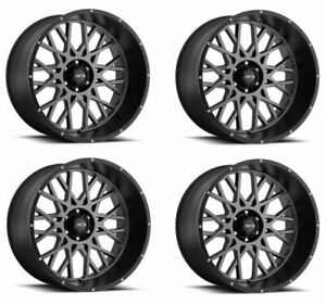 Set 4 20 Vision 412 Rocker Anthracite W Black Lip Wheels 20x9 6x135