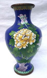 Chinese Large Republic Periode Cloisonne Enamel Baluster Vase Flowers Butterfly