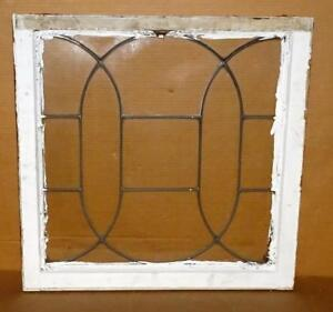 Vtg Leaded Glass Window Pane Salvaged Architectural Shabby Window Wall Decor 2